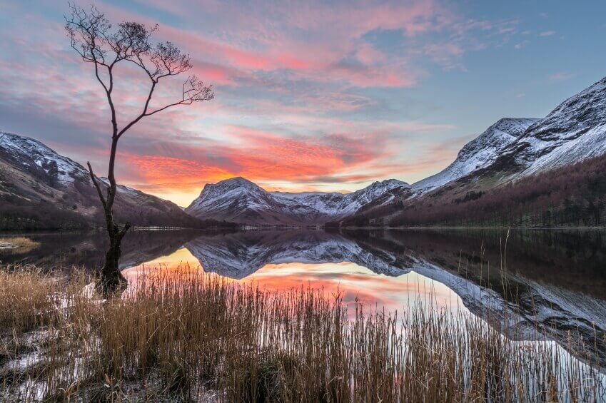 Photo of sunrise at a lake in the Lake District