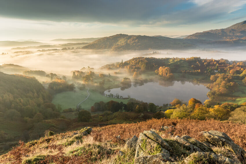 Landscape photo taken of Langdale Valley in the morning.