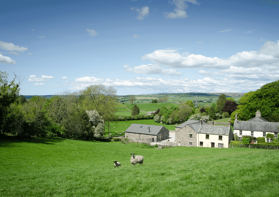 Landscape photo of Mill House's Autumn Cottage in quiet rural area.