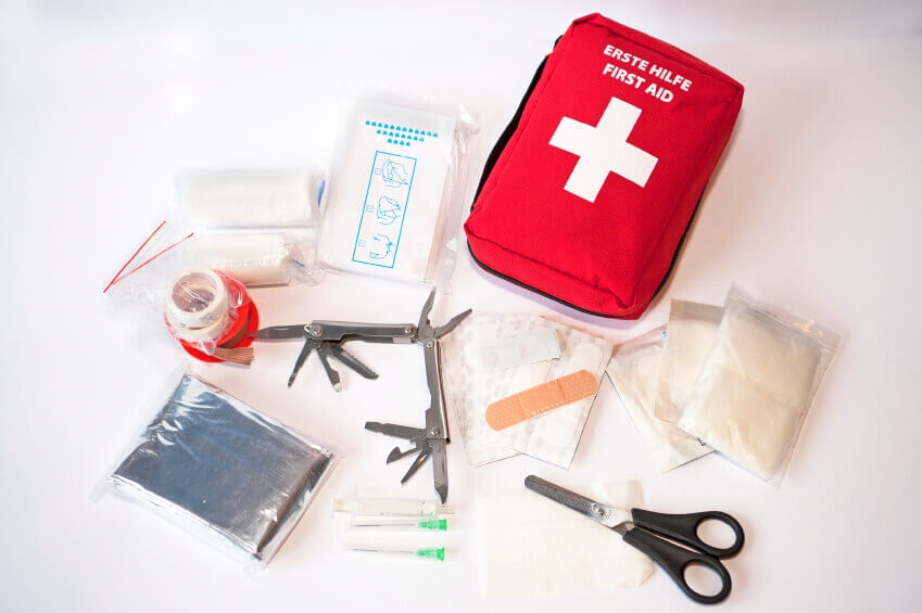 Essential first aid kit for hiking.
