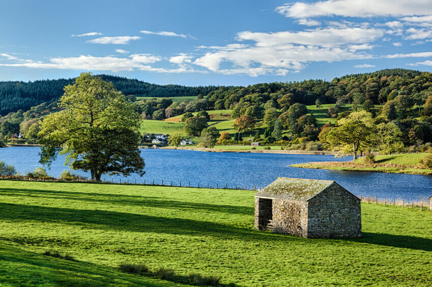 Stone barns by Esthwaite Water