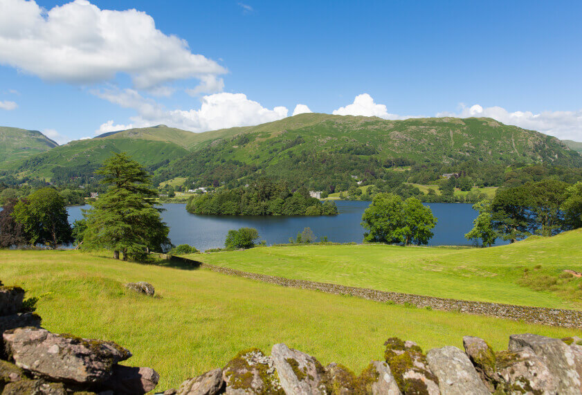 Scenic Views of Greenery and Water in Grasmere