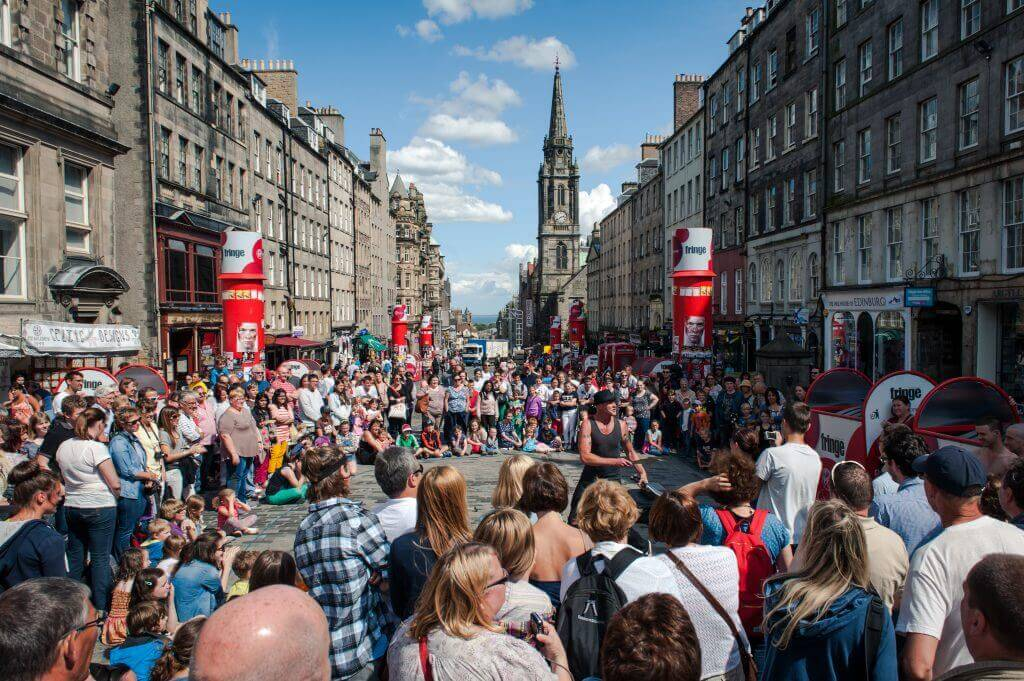 Busy Street Performance in Scotland