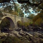devils bridge at kirkby lonsdale framed by trees